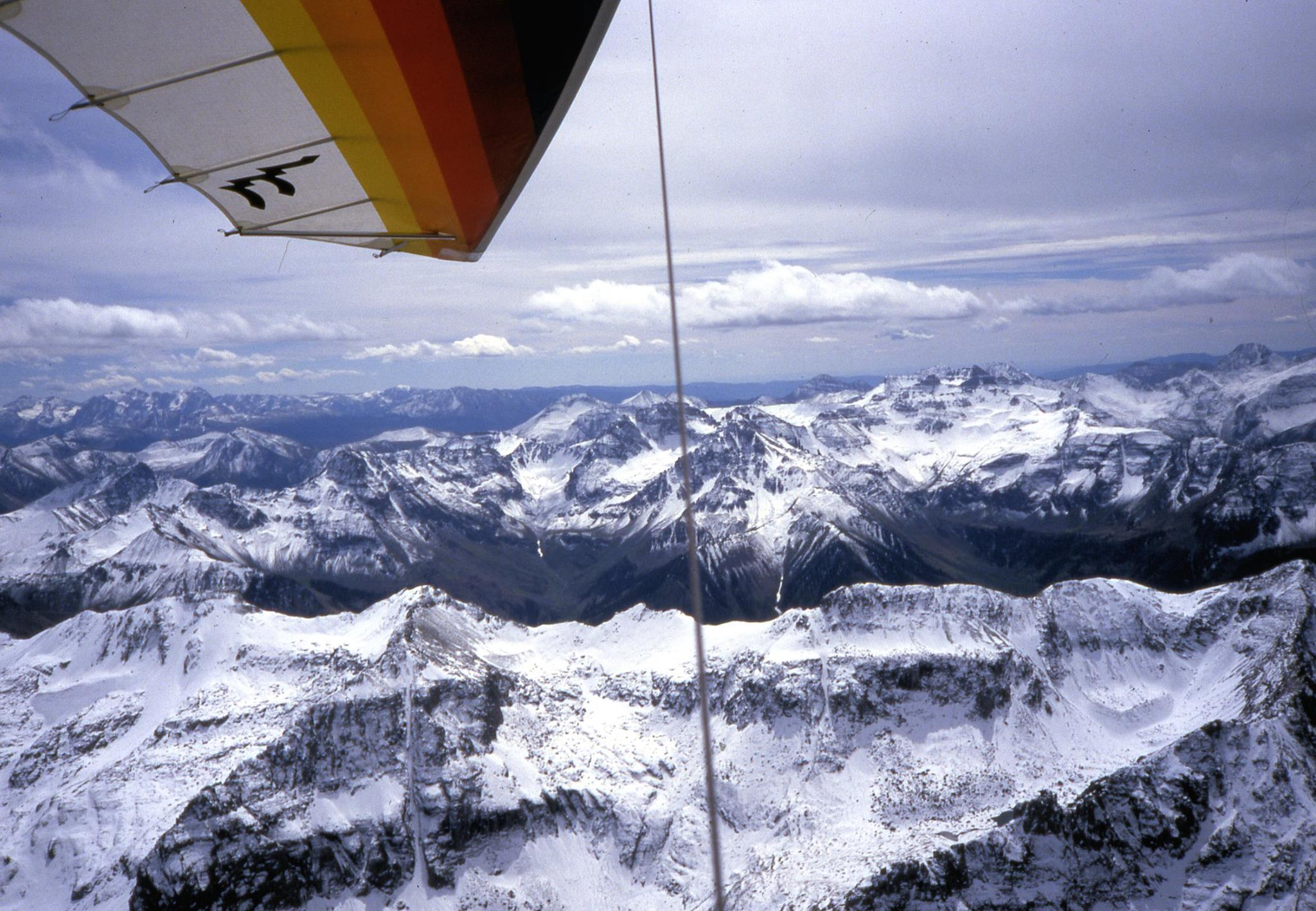 Paul Voight flying lat summer above Telluride.